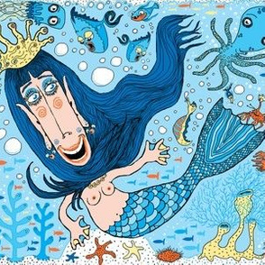 quirky mermaid with sea friends, blue version, large scale