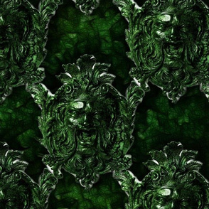 Green Sculptural Face Pattern