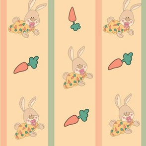 BaABY BUNNY AND CARROTS STRIPPED