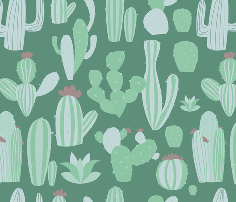 cactus pattern fabric by danira on Spoonflower - custom fabric