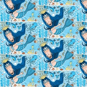 quirky mermaid with sea friends, blue version, small scale
