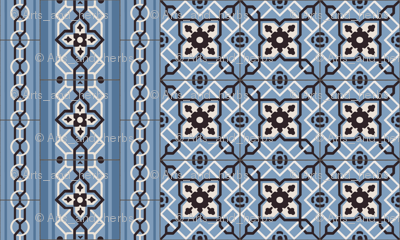 Small Blue Tiles with Border