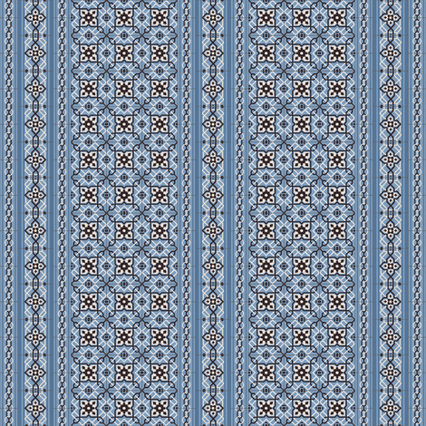 Small Blue Tiles with Border fabric by arts_and_herbs on Spoonflower - custom fabric