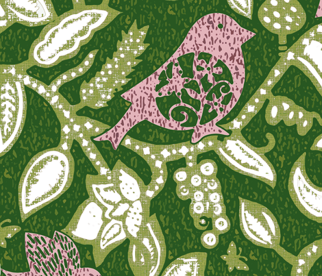 Sparrow's Lunch in green neg fabric by chicca_besso on Spoonflower - custom fabric
