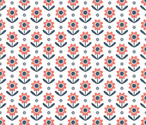 Red flowers fabric by molecula on Spoonflower - custom fabric