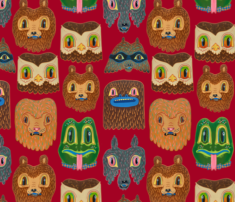 Animal Wallpaper red fabric by tripper_dungan on Spoonflower - custom fabric