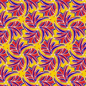 Windswept Sponge Painted Tropical Leaves in Red Yellow and Blue