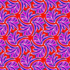 Windswept Sponge Painted Tropical Leaves in Red Purple and Blue