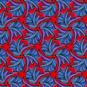Windswept Sponge Painted Tropical Leaves in Red Blue Teal and Purple