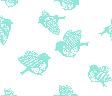 Sparrow pastel aqua 02 fabric by chicca_besso on Spoonflower - custom fabric