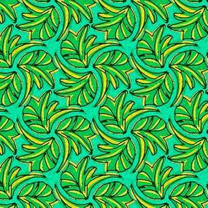 Windswept Sponge Painted Tropical Leaves in  Green Yellow and Aqua