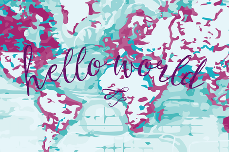"""54"""" orchid hello world blanket fabric by ivieclothco on Spoonflower - custom fabric"""