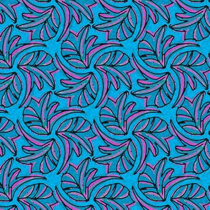 Windswept Sponge Painted Tropical Leaves in Aqua and Pink