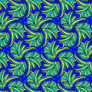 Windswept Sponge Painted Tropical Leaves in Blue Teal and Yellow