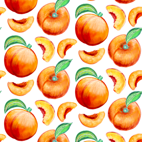 Peaches Pattern fabric by carolinacotoart on Spoonflower - custom fabric
