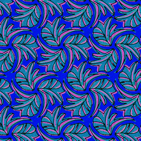 Windswept Sponge Painted Tropical Leaves in Blue Light Blue and Pink fabric by eclectic_house on Spoonflower - custom fabric