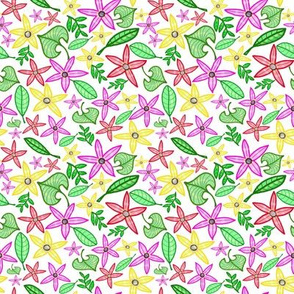 Compo multicolore Fleurs feuilles / Flowers and leafs