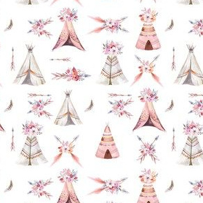 Watercolor  bohemian teepee  organic design1