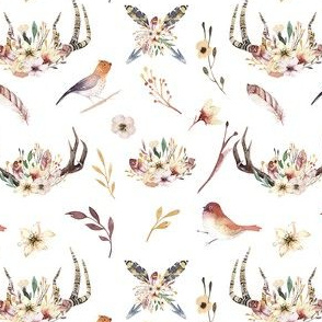 Watercolor  bohemian horns and bird  organic design