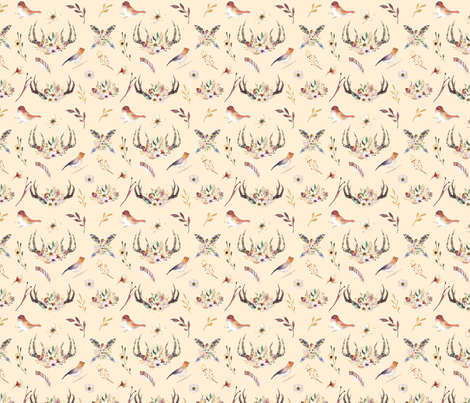 Watercolor  bohemian horns and bird  organic design 2 fabric by peace_shop on Spoonflower - custom fabric