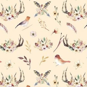 Watercolor  bohemian horns and bird  organic design 2
