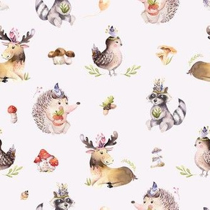 Cute watercolor bohemian baby cartoon,oak, hedgehog, raccon, squirrel and moose animal for nursary, woodland isolated forest illustration for children.