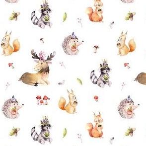 Cute watercolor bohemian baby cartoon,oak, hedgehog, raccon, squirrel and moose animal for nursary, woodland isolated forest illustration 2