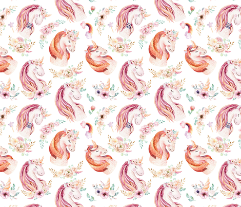 Cute watercolor unicorn 17 fabric by peace_shop on Spoonflower - custom fabric