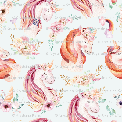 Cute watercolor unicorn seamless pattern 2