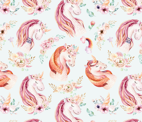 Cute watercolor unicorn seamless pattern 2 fabric by peace_shop on Spoonflower - custom fabric