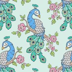 Peacock Bird with Flowers on Mint Green