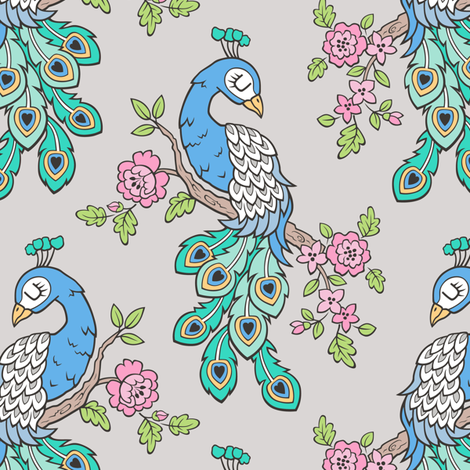 Peacock Bird with Flowers on Light Grey fabric by caja_design on Spoonflower - custom fabric