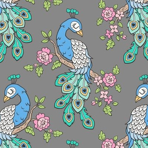Peacock Bird with Flowers on Dark Grey