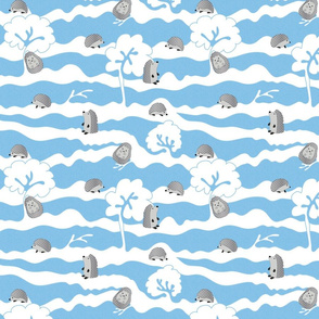 hedges with hogs - hedgehogs in grey on blue crosshatch