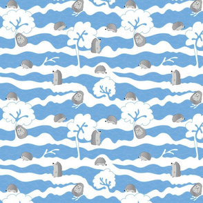 hedges with hogs - hedgehogs in grey on blue dots