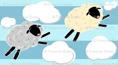 Wooly Cloud Jumpers! Sheep  on blue stripe