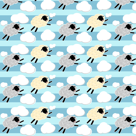 Wooly Cloud Jumpers! Sheep  on blue stripe  fabric by franbail on Spoonflower - custom fabric