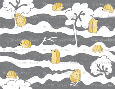 hedges with hogs - hedgehogs in yellow on grey