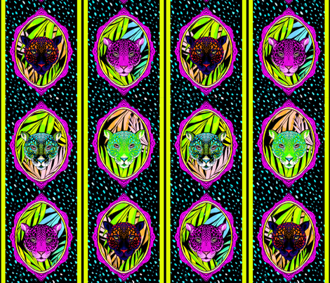 neon jungle stripe fabric by beesocks on Spoonflower - custom fabric