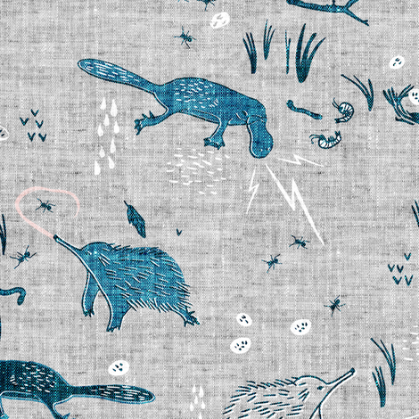 Terra Australis Extreme Monotremes  fabric by nouveau_bohemian on Spoonflower - custom fabric