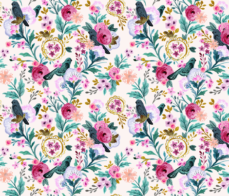 vintage birds and blooms fabric by crystal_walen on Spoonflower - custom fabric