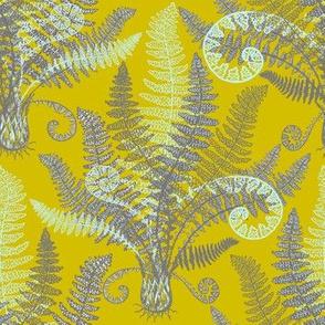 Mint-Grey Ferns (gold-lime)