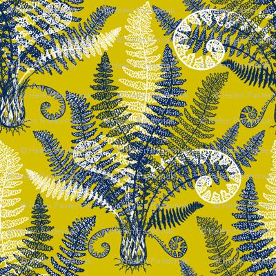 White-Navy Ferns (gold-lime)