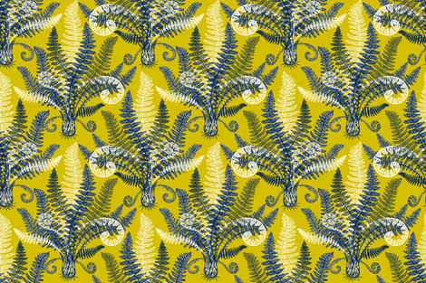 White-Navy Ferns (gold-lime) fabric by helenpdesigns on Spoonflower - custom fabric