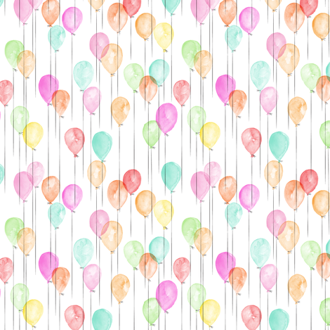 (extra small scale) watercolor multi balloons - birthday C18BS fabric by littlearrowdesign on Spoonflower - custom fabric