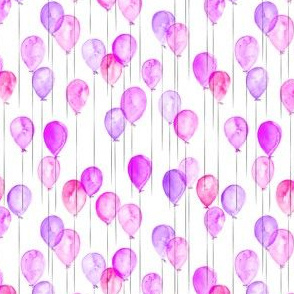 (extra small scale) watercolor balloons - pink and purple C18BS