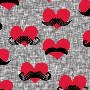 mustache hearts - Valentine's Day fabric (med grey) C18BS