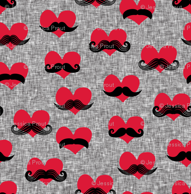 (micro scale) mustache hearts - Valentine's Day fabric (med grey) C18BS
