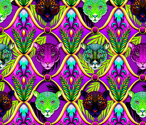 neon jungle jaguar ogee fabric by beesocks on Spoonflower - custom fabric
