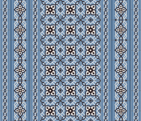 Blue Tiles with Border fabric by arts_and_herbs on Spoonflower - custom fabric